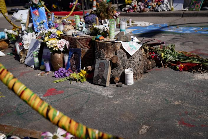 """Various items in the memorial at George Floyd Square in Minneapolis, MN."""" Harrison Hill/USA Today"""