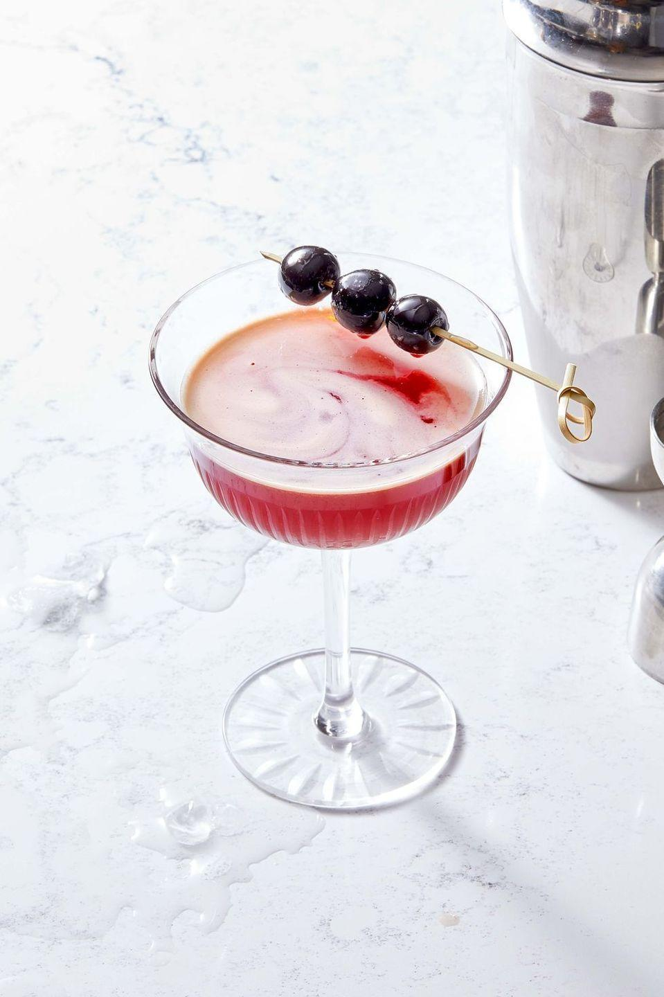 """<p>You'll become the sophisticate at the bar with this sweet and sour Halloween treat. The cherry liqueur makes this staple sensational.<br><br><em><a href=""""https://www.goodhousekeeping.com/food-recipes/a36890272/cherry-sidecar-recipe/"""" rel=""""nofollow noopener"""" target=""""_blank"""" data-ylk=""""slk:Get the recipe for Cherry Sidecar »"""" class=""""link rapid-noclick-resp"""">Get the recipe for Cherry Sidecar »</a></em><br></p>"""