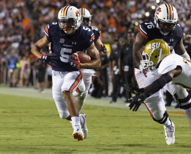 Auburn wide receiver Anthony Schwartz (5) breaks free for a 23-yard touchdown against Alabama State during the first half of an NCAA college football game Saturday, Sept. 8, 2018, in Auburn, Ala. (AP Photo/Vasha Hunt)