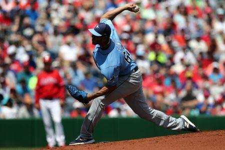 Mar 25, 2019; Clearwater, FL, USA; Tampa Bay Rays starting pitcher Wilmer Font (62) throws against the Philadelphia Phillies in the first inning at Spectrum Field. Mandatory Credit: Aaron Doster-USA TODAY Sports