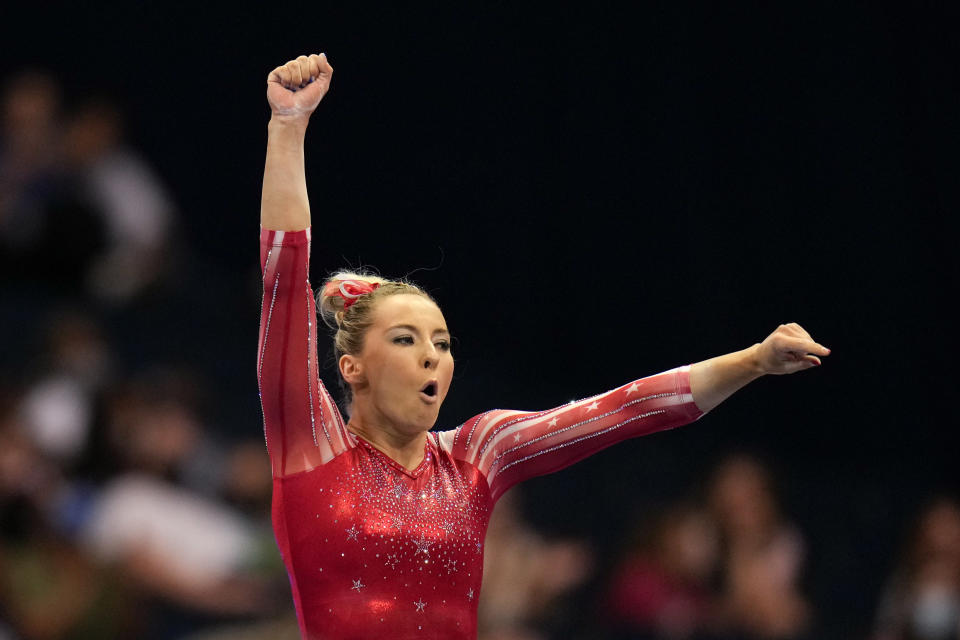 MyKayla Skinner celebrates her performance on the balance beam during the women's U.S. Olympic Gymnastics Trials Friday, June 25, 2021, in St. Louis. (AP Photo/Jeff Roberson)