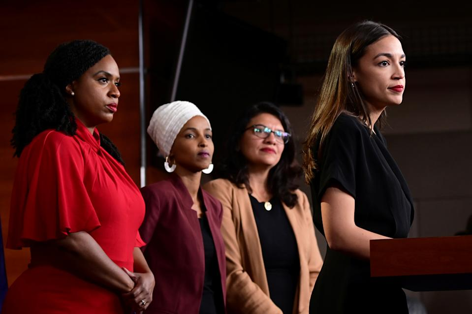 U.S. Reps Ayanna Pressley (D-MA), Ilhan Omar (D-MN), Rashida Tlaib (D-MI) and Alexandria Ocasio-Cortez (D-NY) hold a news conference after Democrats in the U.S. Congress moved to formally condemn President Donald Trump's attacks on the four minority congresswomen on Capitol Hill in Washington, U.S., July 15, 2019. REUTERS/Erin Scott
