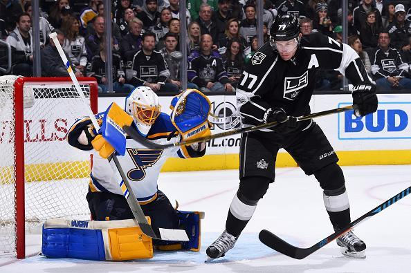 """<a class=""""link rapid-noclick-resp"""" href=""""/nhl/players/4589/"""" data-ylk=""""slk:Jake Allen"""">Jake Allen</a> of the St. Louis Blues makes a save with pressure from <a class=""""link rapid-noclick-resp"""" href=""""/nhl/players/3349/"""" data-ylk=""""slk:Jeff Carter"""">Jeff Carter</a> #77 of the <a class=""""link rapid-noclick-resp"""" href=""""/nhl/teams/los/"""" data-ylk=""""slk:Los Angeles Kings"""">Los Angeles Kings</a> during the game on March 13, 2017 at Staples Center in Los Angeles, California. (Getty Images)"""