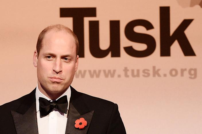 Britain's Prince William, Duke of Cambridge, speaks on stage during The Tusk Conservation Awards at Banqueting House in London on November 8, 2018. - The annual Tusk Conservation Awards celebrate the achievements of people who work protecting Africas wildlife and natural heritage. (Photo by Jeff Spicer / POOL / AFP)        (Photo credit should read JEFF SPICER/AFP via Getty Images)