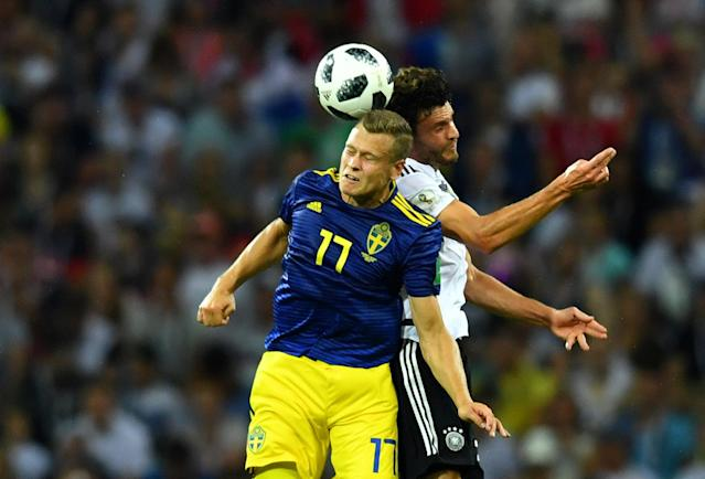 Soccer Football - World Cup - Group F - Germany vs Sweden - Fisht Stadium, Sochi, Russia - June 23, 2018 Sweden's Viktor Claesson in action with Germany's Jonas Hector REUTERS/Dylan Martinez
