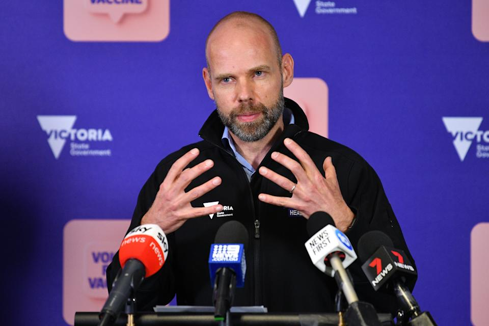 Victorian COVID-19 Commander Jeroen Weimar addresses the media during a press conference in Melbourne. Source: AAP