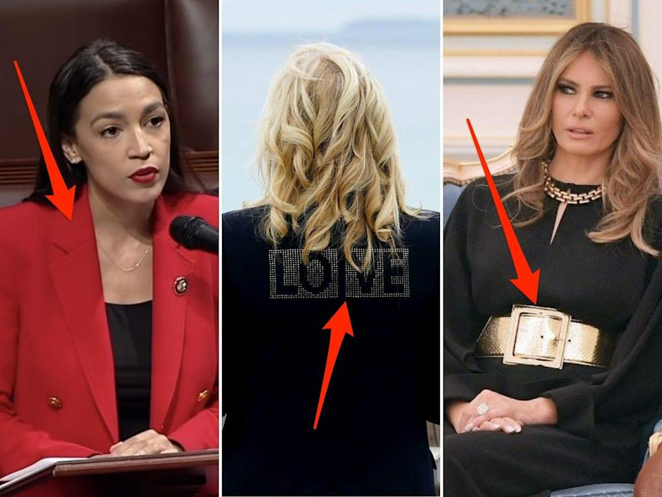 Side-by-side images of Democratic Rep. Alexandria Ocasio-Cortez, first lady Jill Biden, and former first lady Melania Trump