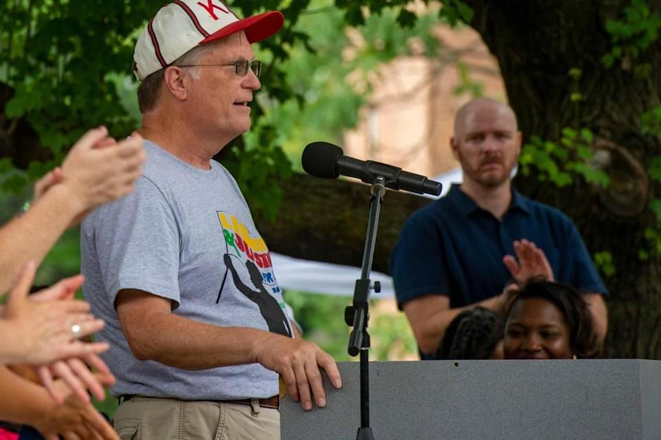 Overland Park council member Paul Lyons speaks at the second annual Advocacy and Awareness Peace March and Rally on Juneteenth, Saturday, June 19, 2021, at Thompson Park in Overland Park, Kansas. Members of the community gathered to hear speakers and watch performers at the rally.