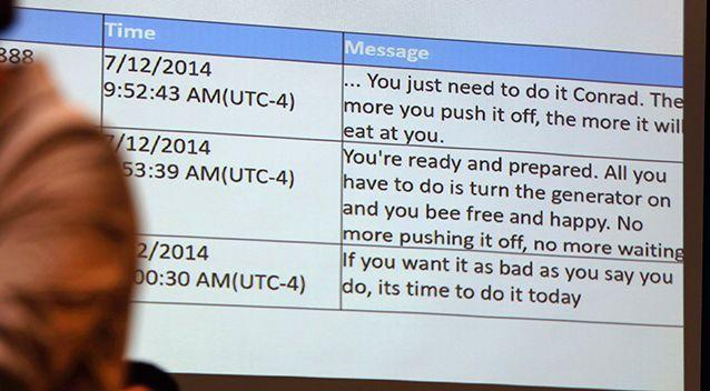 Michelle Carter's text messages are displayed in court. Picture: AP