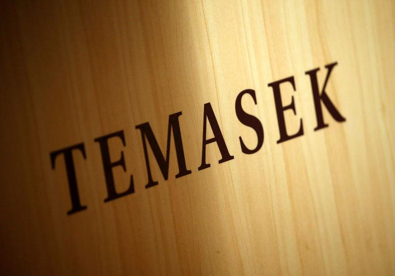 A Temasek logo is seen at the annual Temasek Review in Singapore