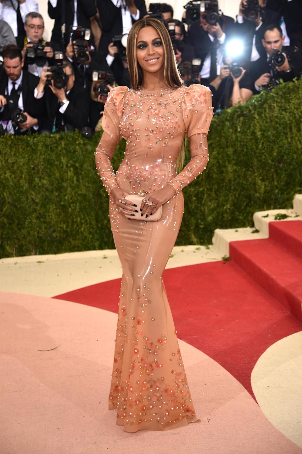 <p>For the 2016 Met Gala, Beyoncé donned a latex Givenchy dress embroided with hundreds of pearls and each one is rumoured to have cost £6,000. Yep, let that sink in for one moment. We're not sure how much truth is in the speculation but it certainly proved a major talking point.<br>But nothing could steer attention away from the fact that the songstress rocked up the red carpet alone after rumours of Jay-Z's infidelity broke. <em>[Photo: Getty]</em> </p>