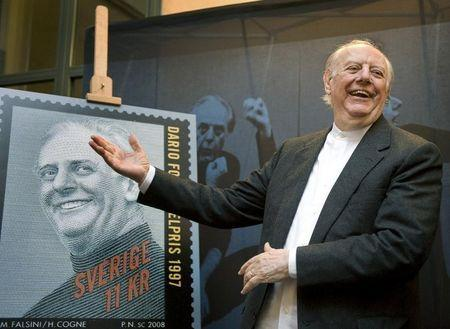 Italian 1997 Nobel literature prize winner Dario Fo reacts on unveiling a commemorative postage stamp in Stockholm
