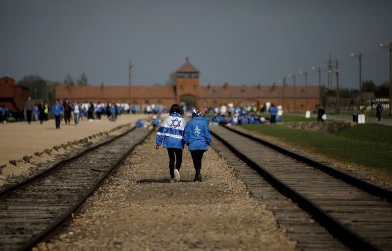 "FILE PHOTO: Participants attend the annual ""March of the Living"" to commemorate the Holocaust at the former Nazi concentration camp Auschwitz, in Brzezinka near Oswiecim"
