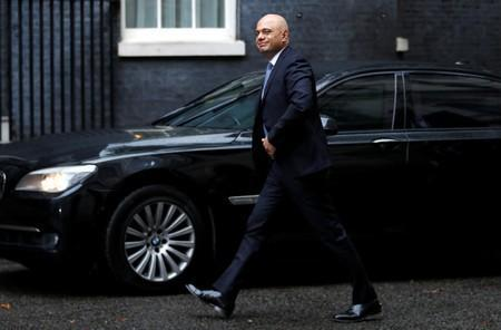 Britain's Chancellor of the Exchequer Sajid Javid is seen outside Downing Street