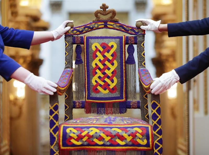 A beaded Yoruba throne from Nigeria, presented to the Queen in 1956.