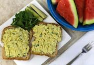 """<p>Craving egg salad without the egg? Firm tofu can be drained, sliced and mashed to create a texture very similar to traditional egg salad. Mustard gives it a yellow colour and vegan mayo and nutritional yeast add a lovely flavour. Some recipes add black salt that helps give it an additional eggy flavour. <a rel=""""nofollow noopener"""" href=""""http://www.vegkitchen.com/recipes/tofu-eggless-%E2%80%9Cegg-salad%E2%80%9D-sandwiches/"""" target=""""_blank"""" data-ylk=""""slk:Veg Kitchen"""" class=""""link rapid-noclick-resp"""">Veg Kitchen</a> with Nava Atlas has an easy """"egg salad"""" recipe that is perfect for sandwiches or pita. <i>(Photo via <a rel=""""nofollow noopener"""" href=""""http://www.vegkitchen.com/recipes/tofu-eggless-%E2%80%9Cegg-salad%E2%80%9D-sandwiches/"""" target=""""_blank"""" data-ylk=""""slk:Veg Kitchen"""" class=""""link rapid-noclick-resp"""">Veg Kitchen</a>)</i> </p>"""