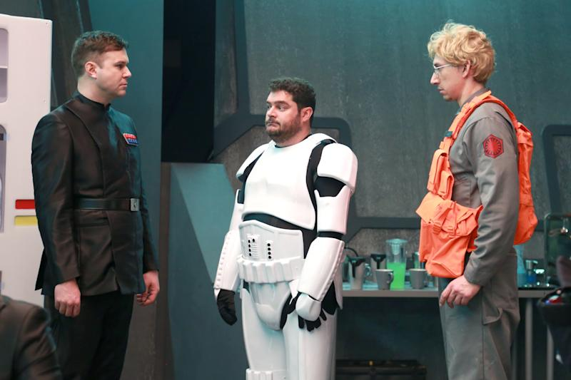 "SATURDAY NIGHT LIVE -- ""Adam Driver"" Episode 1693 -- Pictured: (l-r) Taran Killam, Bobby Moynihan, and Adam Driver as Kylo Ren during the ""Undercover Boss: Starkiller Base"" sketch on January 16, 2016 -- (Photo by: Dana Edelson/NBC/NBCU Photo Bank via Getty Images)"