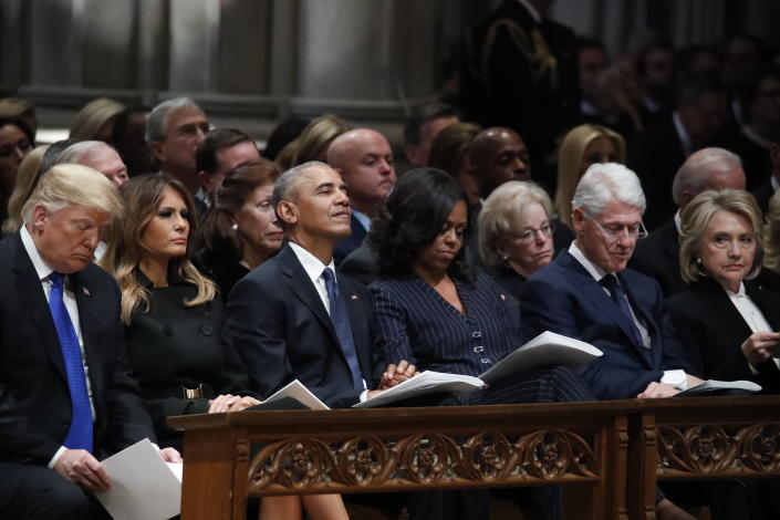 From left, President Donald Trump, first lady Melania Trump, former President Barack Obama, Michelle Obama, former President Bill Clinton and former Secretary of State Hillary Clinton listen during a State Funeral at the National Cathedral, Wednesday, Dec. 5, 2018, in Washington, for former President George H.W. Bush.(Photo: Alex Brandon, Pool/AP)