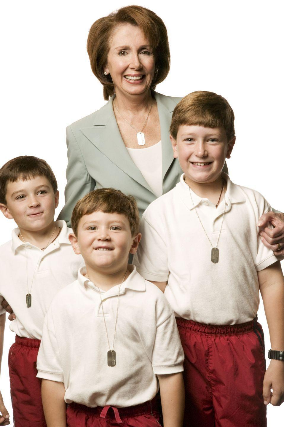 <p>Pelosi poses for a photo with three of her grandchildren in a portrait series for the Search for the Cause campaign, which benefits cancer research. </p>