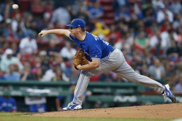 Toronto Blue Jays' Trent Thornton pitches during the first inning of a baseball game against the Boston Red Sox in Boston, Friday, June 21, 2019. (AP Photo/Michael Dwyer)