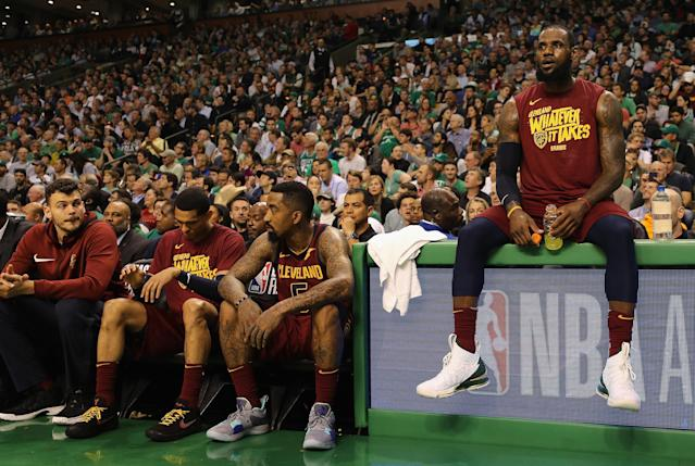 BOSTON, MA - MAY 15: LeBron James #23 of the Cleveland Cavaliers looks on in the first half against the Boston Celtics during Game Two of the 2018 NBA Eastern Conference Finals at TD Garden on May 15, 2018 in Boston, Massachusetts. (Photo by Maddie Meyer/Getty Images)