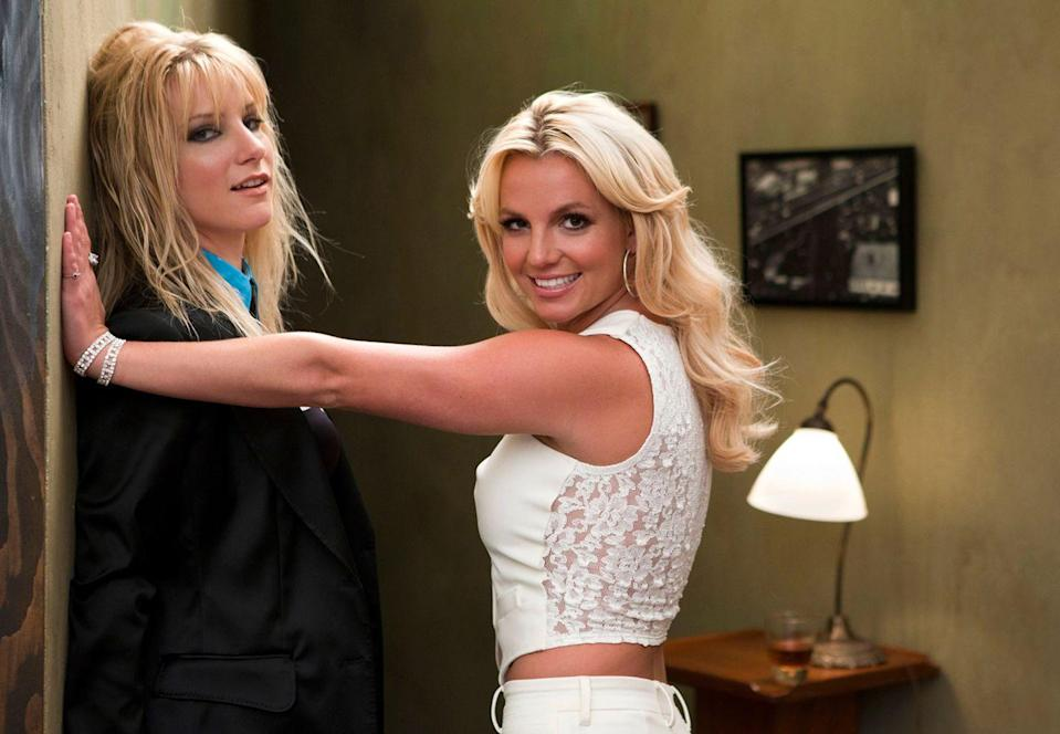 """<p>Yep, just like her character. One of the show's most memorable tributes was to the pop icon in """"Britney/Brittany."""" """"I just sat there and stared at her,"""" Morris told <a href=""""https://www.tvguide.com/news/glee-heather-morris-britney-1023709/"""" rel=""""nofollow noopener"""" target=""""_blank"""" data-ylk=""""slk:TV Guide"""" class=""""link rapid-noclick-resp"""">TV Guide</a> after filming the episode. """"Like, 'Wow, I'm just hanging out with Britney Spears as Brittany the character. We're doing a scene. I'm singing her songs. It was weird.""""</p>"""