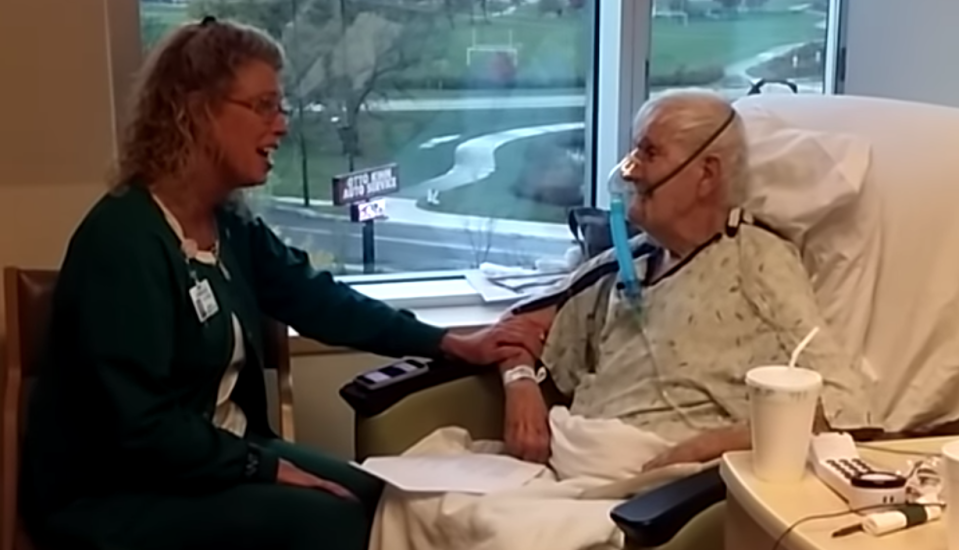 Nurse Brenda Buurstra sang her patient's favorite song, and it lifted his spirits enough that he was able to go home. (Photo: YouTube)