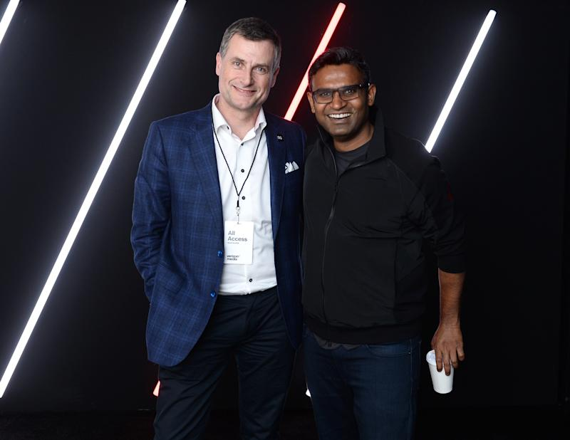 President of Verizon Consumer Group Ronan Dunne (L) and CEO at Verizon Media K. Guru Gowrappan appear at the 2019 Verizon Media NewFront on April 30, 2019 in New York City. Photo: Noam Galai/Getty Images for Verizon Media