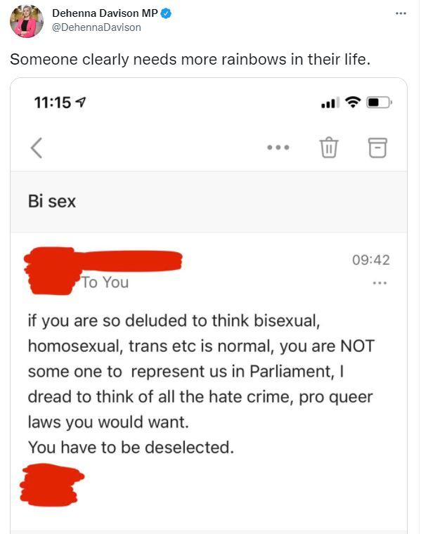 The Tweet called for Dehenna Davison to be deselected after coming out as bisexual (Twitter)