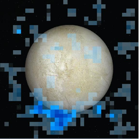 A south polar water vapor plume on Europa is shown in blue in this Hubble Space Telescope data image, which is superimposed on a visible light image of the Jupiter moon's leading hemisphere. Image released Dec. 12, 2013.