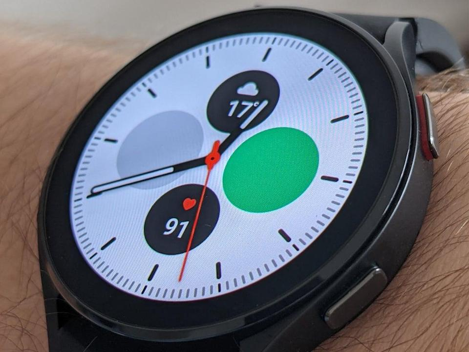 The Galaxy watch 4 is waterproof and can track swimming performance (Steve Hogarty/The Independent)