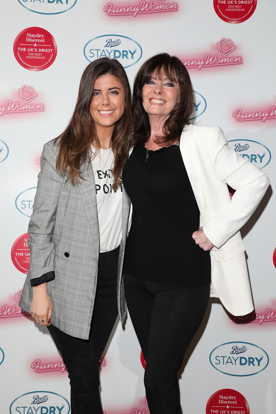 LONDON, ENGLAND - FEBRUARY 25: (L) Louise Michelle and (R) Vicki Michelle attend the Boots Staydry Women Take The P**s Comedy Night at Boulevard Theatre on February 25, 2020 in London, England. The event was held to challenge the taboo associated with female incontinence and encourage women to talk more openly about the condition.  (Photo by Lia Toby/Getty Images for Boots Staydry )
