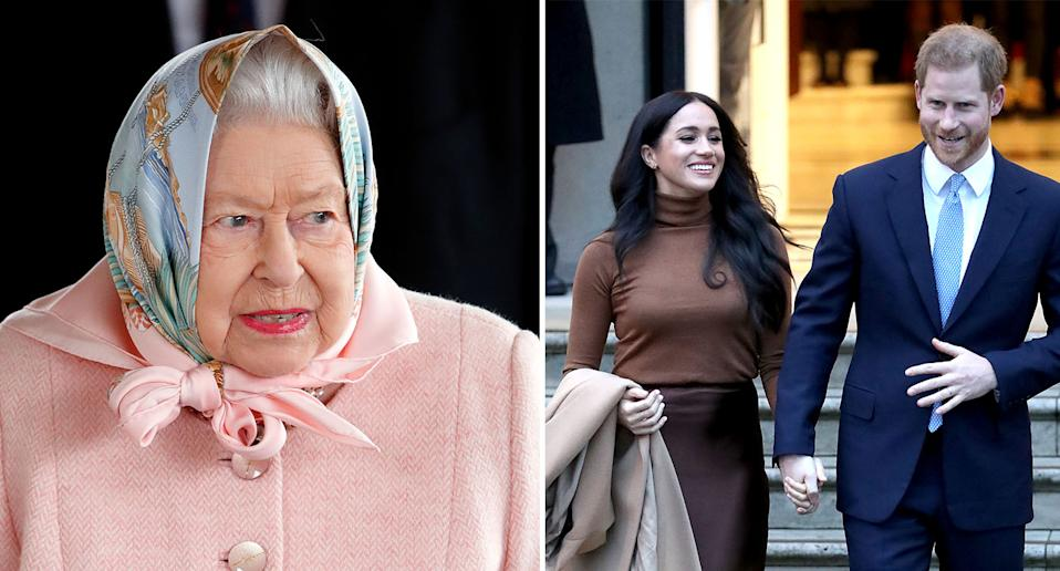 The Queen, left, has said she respects the wishes of Harry and Meghan. [Photo: Getty]