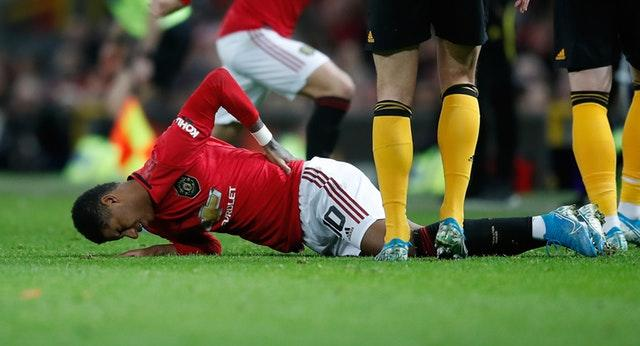 Rashford suffered the injury against Wolves