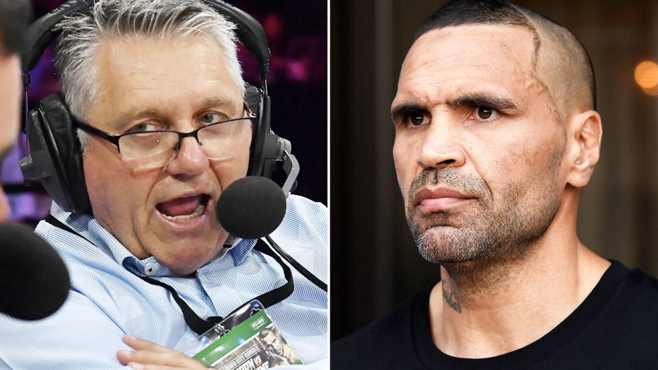 Ray Hadley and Anthony Mundine, pictured here talking to the media.