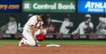 St. Louis Cardinals' Jack Flaherty kneels at second base after being picked off during the 11th inning of the team's baseball game against the Miami Marlins, Thursday, June 20, 2019, in St. Louis. Miami won 7-6. (AP Photo/L.G. Patterson)