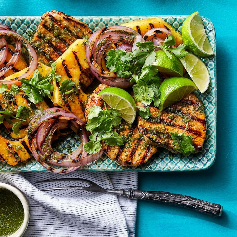 <p>Never grilled pineapple? Get ready to be wowed. It caramelizes beautifully for a deeper flavor. Plus it's a totally tasty match with a grilled pork chop, cilantro and a little heat from serranos.</p>