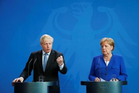 German Chancellor Merkel meets Britain's Prime Minister Johnson at the Chancellery in Berlin