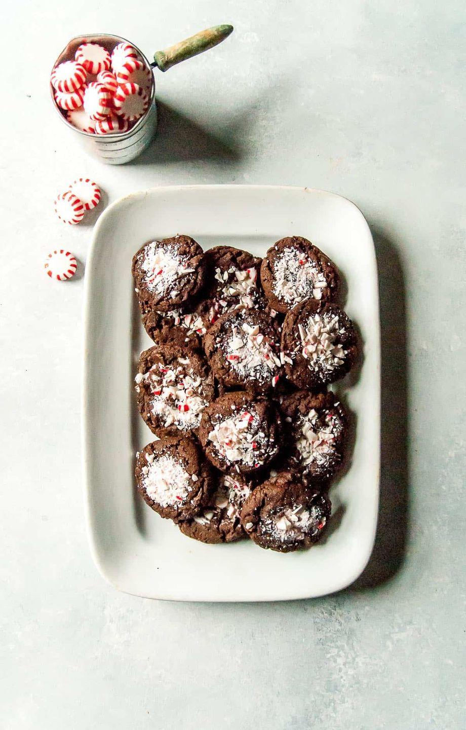 """<p>These Vegan Peppermint Cookies will be the crowning glory of your Christmas dessert spread.</p><p>Get the recipe from <a href=""""https://heartofabaker.com/vegan-chocolate-peppermint-cookies/"""" rel=""""nofollow noopener"""" target=""""_blank"""" data-ylk=""""slk:Heart of a Baker"""" class=""""link rapid-noclick-resp"""">Heart of a Baker</a>.</p>"""
