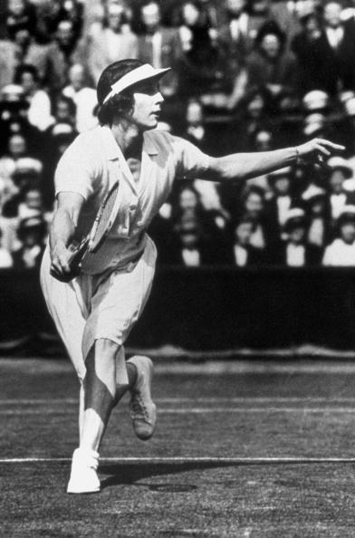 1924: Helen Wills Moody runs to the ball during a match circa 1924 in Paris, France.