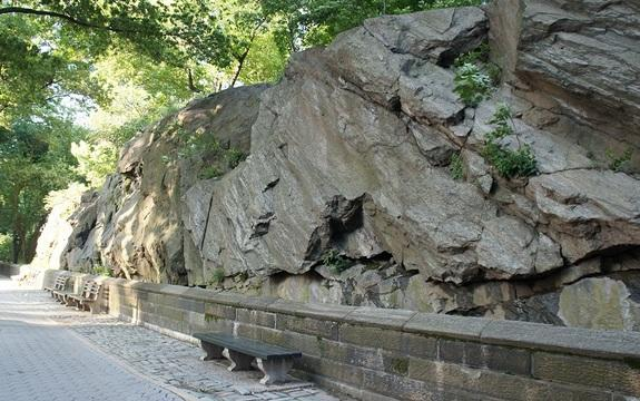 This cross-section of bedrock on Central Park West shows how the layers of Manhattan schist are tilted to the south.