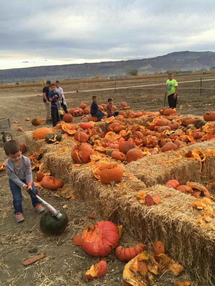 """<p>While making a mess may be a no-go at home, kids can feel free to smash and smear all they want (with no cleanup required!) at <a href=""""http://studtspumpkinpatchandcornmaze.com/"""" rel=""""nofollow noopener"""" target=""""_blank"""" data-ylk=""""slk:Studt's Pumpkin Patch"""" class=""""link rapid-noclick-resp"""">Studt's Pumpkin Patch</a>'s """"Pumpkin Smashing Pit."""" While you're at the <a href=""""https://go.redirectingat.com?id=74968X1596630&url=https%3A%2F%2Fwww.tripadvisor.com%2FTourism-g33450-Grand_Junction_Colorado-Vacations.html&sref=https%3A%2F%2Fwww.countryliving.com%2Flife%2Ftravel%2Fg21273436%2Fpumpkin-farms-near-me%2F"""" rel=""""nofollow noopener"""" target=""""_blank"""" data-ylk=""""slk:Grand Junction, Colorado"""" class=""""link rapid-noclick-resp"""">Grand Junction, Colorado</a>, farm, be sure to commemorate your trip with an autumnal family photo at their <a href=""""https://www.countryliving.com/diy-crafts/g279/pumpkin-carving-ideas/"""" rel=""""nofollow noopener"""" target=""""_blank"""" data-ylk=""""slk:jack-o'-lantern"""" class=""""link rapid-noclick-resp"""">jack-o'-lantern</a> house.<br></p><p><a class=""""link rapid-noclick-resp"""" href=""""https://go.redirectingat.com?id=74968X1596630&url=https%3A%2F%2Fwww.tripadvisor.com%2FAttractions-g33450-Activities-Grand_Junction_Colorado.html&sref=https%3A%2F%2Fwww.countryliving.com%2Flife%2Ftravel%2Fg21273436%2Fpumpkin-farms-near-me%2F"""" rel=""""nofollow noopener"""" target=""""_blank"""" data-ylk=""""slk:PLAN YOUR TRIP"""">PLAN YOUR TRIP</a></p>"""