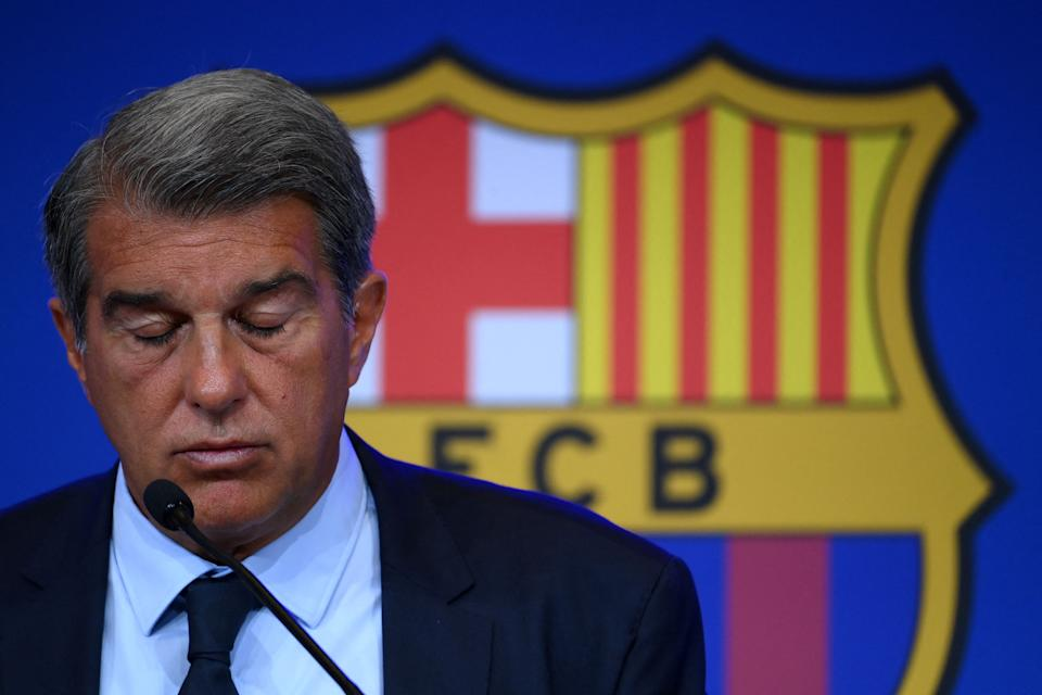 President of FC Barcelona Joan Laporta gestures during a press conference at the Camp Nou stadium in Barcelona on August 16, 2021. - Joan Laporta explains the economic results of Due Diligence. (Photo by LLUIS GENE / AFP) (Photo by LLUIS GENE/AFP via Getty Images)