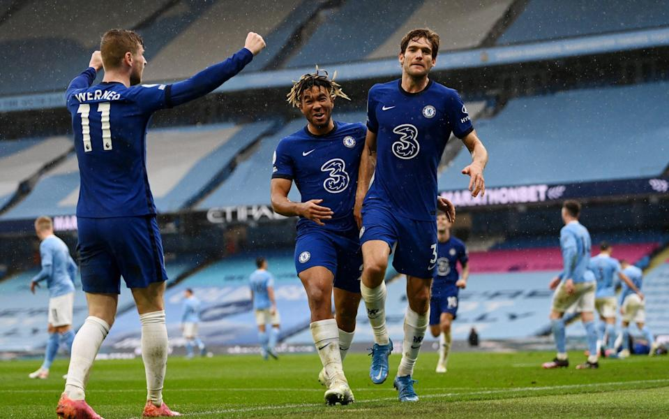 Marcos Alonso of Chelsea celebrates with team mates Reece James and Timo Werner after scoring their side's second goal - Getty Images
