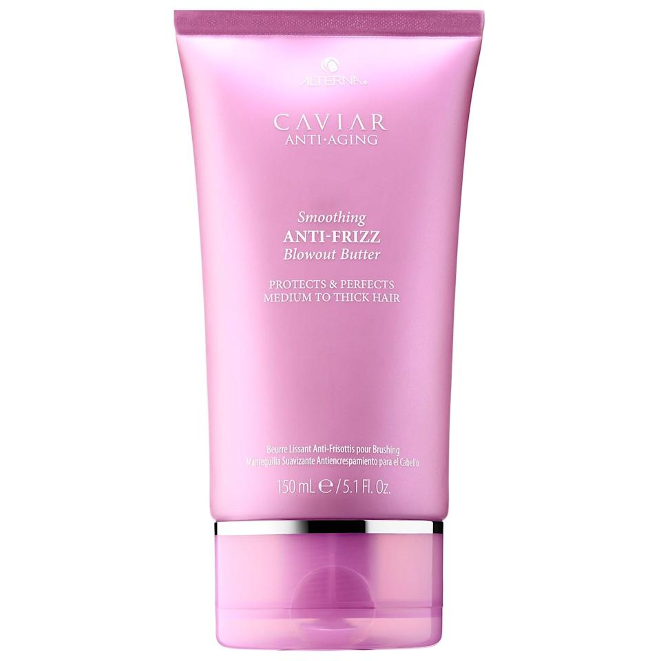 """<p>Similarly, this <a href=""""https://www.popsugar.com/buy/Alterna-Haircare-Caviar-Anti-Aging-Smoothing-Anti-Frizz-Blowout-Butter-580782?p_name=Alterna%20Haircare%20Caviar%20Anti-Aging%20Smoothing%20Anti-Frizz%20Blowout%20Butter&retailer=sephora.com&pid=580782&price=34&evar1=bella%3Auk&evar9=47540523&evar98=https%3A%2F%2Fwww.popsugar.com%2Fbeauty%2Fphoto-gallery%2F47540523%2Fimage%2F47540534%2FAlterna-Haircare-Caviar-Anti-Aging-Smoothing-Anti-Frizz-Blowout-Butter&list1=hair%2Csephora%2Cbeauty%20shopping&prop13=api&pdata=1"""" class=""""link rapid-noclick-resp"""" rel=""""nofollow noopener"""" target=""""_blank"""" data-ylk=""""slk:Alterna Haircare Caviar Anti-Aging Smoothing Anti-Frizz Blowout Butter"""">Alterna Haircare Caviar Anti-Aging Smoothing Anti-Frizz Blowout Butter</a> ($34) also offers heat protection, but it also includes a proprietary climate shield complex to fight humidity that may traditionally lead to frizz. Of course, it's also got the brand's amino-acid-rich caviar extract to help smooth the hair shaft for sleeker styles with less breakage.</p>"""