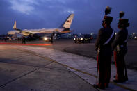 Members of the cadets honor guard stand close to Air Force Two after the arrival of Vice President Kamala Harris to Guatemala City, Sunday, June 6, 2021, at Guatemala's Air Force Central Command. (AP Photo/Jacquelyn Martin)