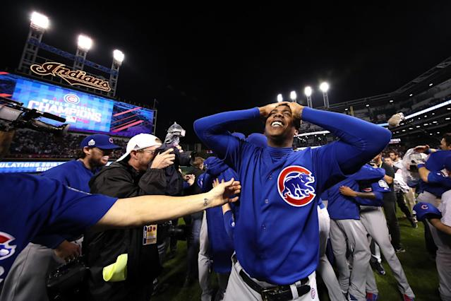 <p>Aroldis Chapman #54 of the Chicago Cubs celebrates after defeating the Cleveland Indians 8-7 in Game Seven of the 2016 World Series at Progressive Field on November 2, 2016 in Cleveland, Ohio. The Cubs win their first World Series in 108 years. (Photo by Ezra Shaw/Getty Images) </p>