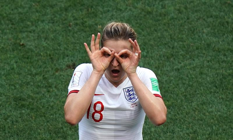 England's Ellen White celebrates a goal that is disallowed during the FIFA Women's World Cup Third Place Play-Off at the Stade de Nice, Nice. (Photo by John Walton/PA Images via Getty Images)