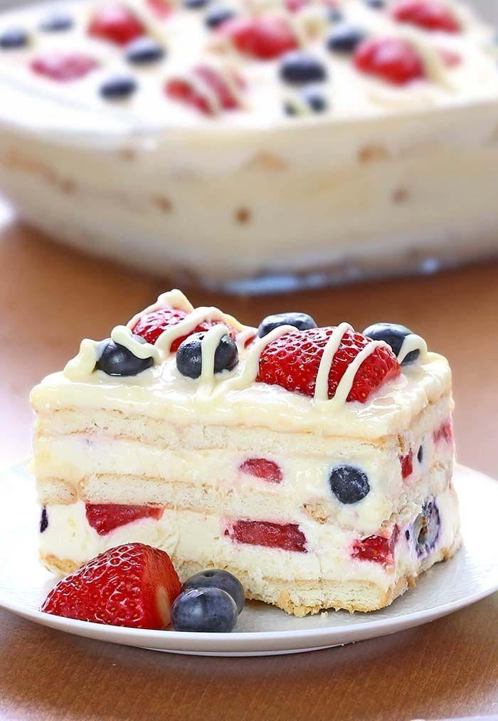 "<p>This no-bake dessert is perfect for when it's too hot to turn on your oven.</p><p>Get the recipe from <a href=""http://cakescottage.com/2016/05/11/no-bake-summer-berry-icebox-cake/#more-132996"" rel=""nofollow noopener"" target=""_blank"" data-ylk=""slk:Cakes Cottage"" class=""link rapid-noclick-resp"">Cakes Cottage</a>.</p>"