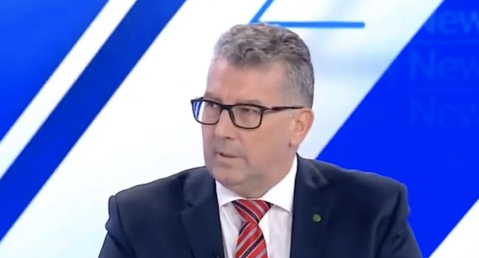 Keith Pitt, the Minister for Resources, Water and Northern Australia, pictured during an interview on Sky News.